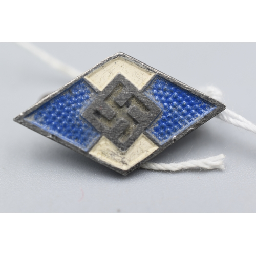 17 - Third Reich Hitler Youth Membership Badge in Blue for Non German Nationals (Makers Mark M1/93 & RZM ...