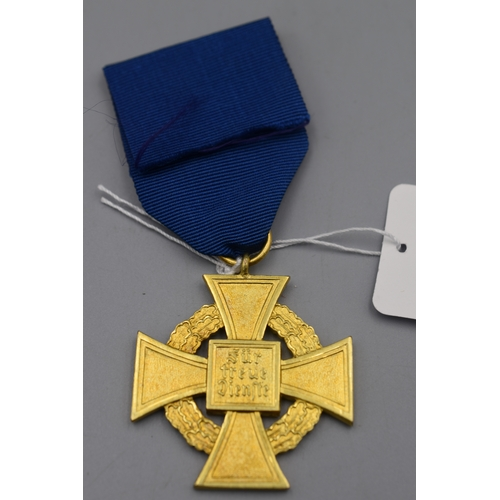 19 - Germany Third Reich 40 Years Faithful Service Medal in Gold with Original Ribbon...