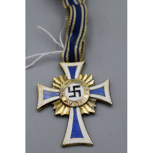 2 - Third Reich Cross of Honour for The German Mother Issued from the 16th December 1938 (Gold)...