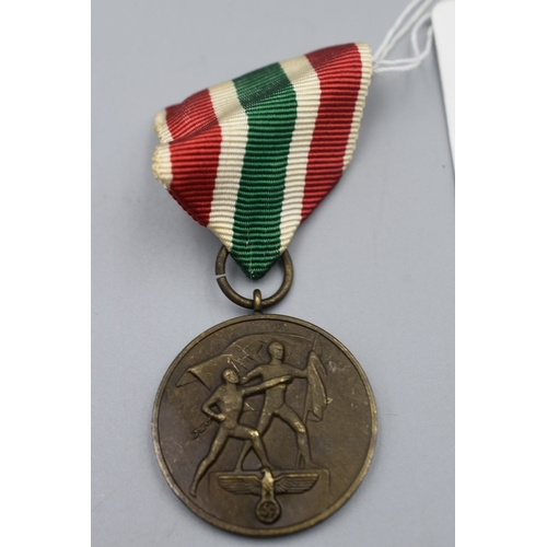 6 - Third Reich Medal for the annexation of the Memellandes (29th March 1939) Complete with Ribbon and O...