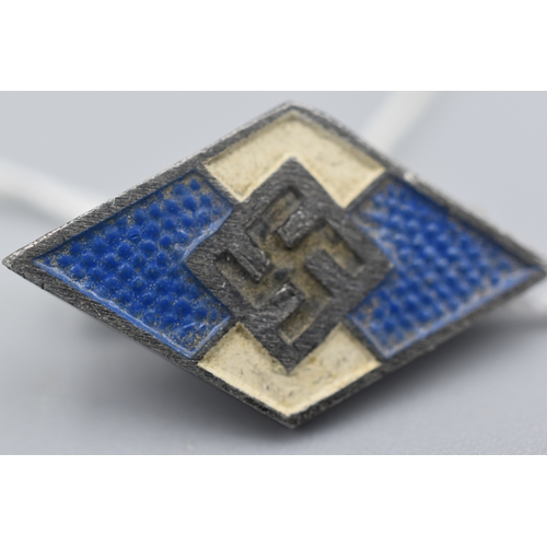 7 - Third Reich Hitler Youth Membership Badge in Blue for non German Nationals. Maker marked as M1/93 & ...