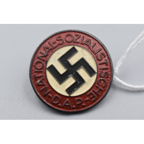 21 - Third Reich NSDAP Party Badge marked RZM M1/34 With Rear Brooch Pin Fixing...