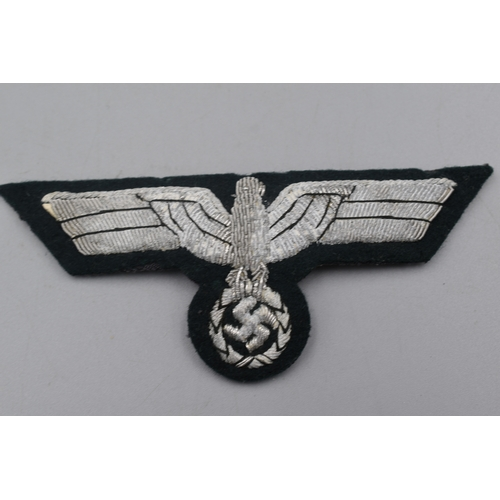 23 - Third Reich Army Officers embroidered breast Eagle with Tailors Label to Rear...