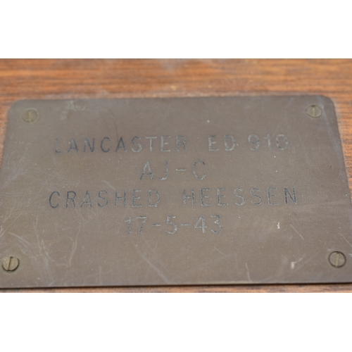 29 - RAF Plaque Commemorating Lancaster ED910 AJ-C that Crashed near Heesen on the night of 17th May 1943...