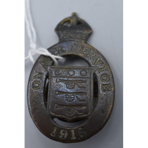 31 - British on War Service 1915 Button Hole Badge by Jenkins and Sons Birmingham...