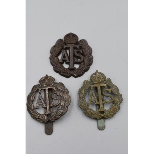 33 - Three ATS Hat Badges (2 Brass & 1 Bakelite Last Missing Slider)...