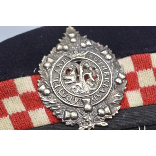35 - Argyll and Sutherland Highlanders Glengarry WW2 era Complete with Badge...