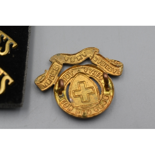 38 - Two Red Cross Cap Badges and 2 Pairs of Red Cross Shoulder Titles (All Fixings Correct)...