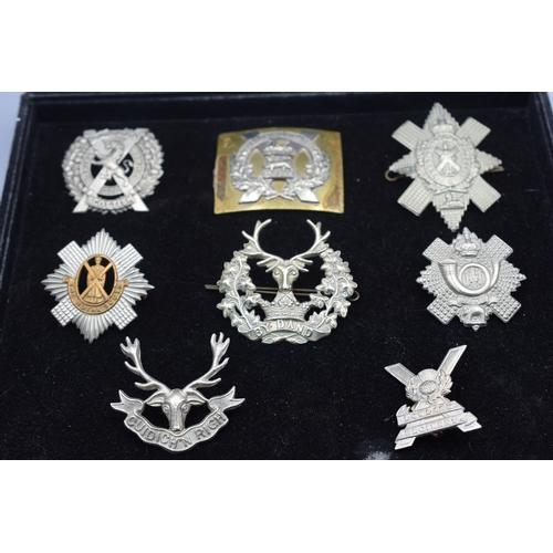 41 - Seven Scottish Glengarry Badges and a Gordon Highlanders ORs Belt Plate including Black Watch, Lowla...