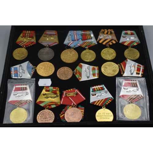 44 - Selection of 14 Soviet Era Medals all on Original Ribbon Mounts...