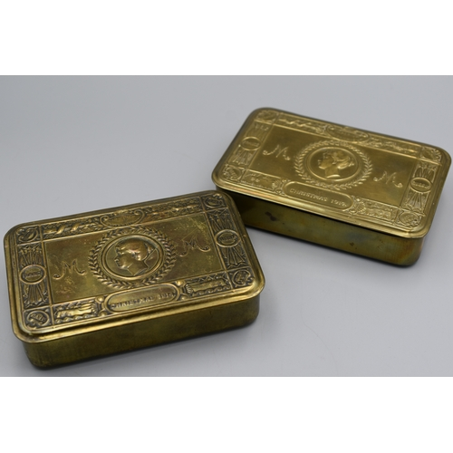 53 - Two Christmas 1914 Queen Mary Tins...