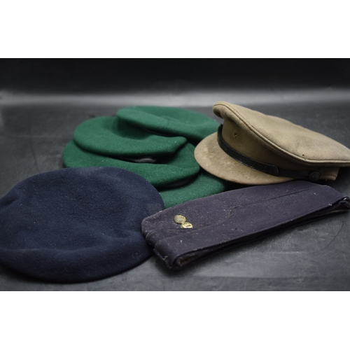 55 - Selection of 7 Military Hats including 4 Green Berets, Blue Beret, Blue Forage Cap and Khaki Officer...