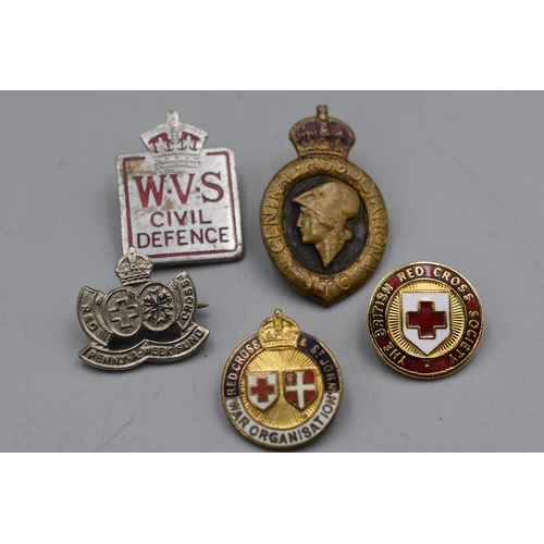 106 - Five WWII British Home Front Lapel Badges...
