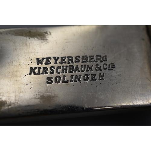 123 - WWII German Police Parade Bayonet, made by Weyersberg Kirschbaum Solingen. Crossguard marked ST.120....