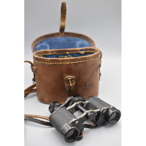 138 - WWII period British Military Binoculars complete with Brown Leather Case...