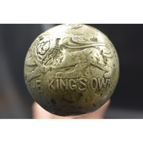 63 - The Kings Own Cane Walking Stick, WW2 or earlier with White Metal Knob embossed with Regimental embl...