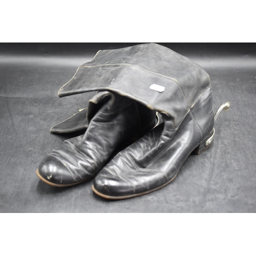 83 - British Army Officers Black Leather Dress Boots/Wellingtons, Complete with Spurs...