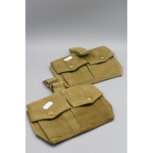 86 - Pair of WWII British Army Webbing Ammo Double Pocket Pouches...