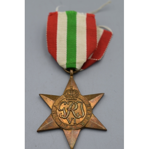 96 - WWII British Italy Star Medal. Full Sized with Ribbon...