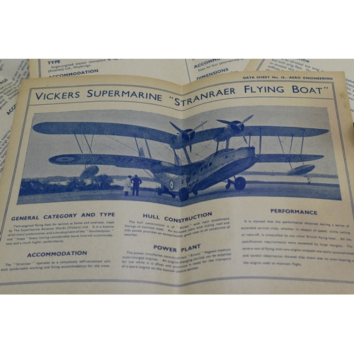 158 - Seventeen Aero Engineering Data Sheets for RAF and other Aircraft, Circa WWII Includes Wellington, B...