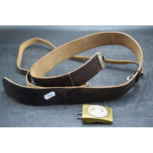 190 - WWII German S.A. Brown Leather Belt with Shoulder Cross Strap, with Nickle and Brass 2 Part Buckle....