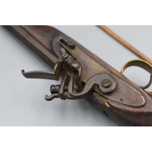 194 - Flintlock Pistol with Brass Fittings and Ramrod...