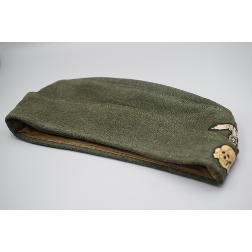 195 - WWII German SS other Ranks Side Cap with Badges. Maker Marked and Dated 1941 (Size 60)...