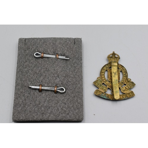 45 - Royal Army Ordnance Corps Hat Badge and Pair of Collar Badges...