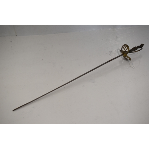 259 - Rapier sword with a brass hilt. Blade etched with a battle scene and scrolls. (100cm long) A/F...