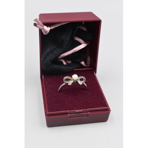 Silver 925 Pandora ALE Pearl and Bow Tie Ring Complete with Presentation Case (Size P)