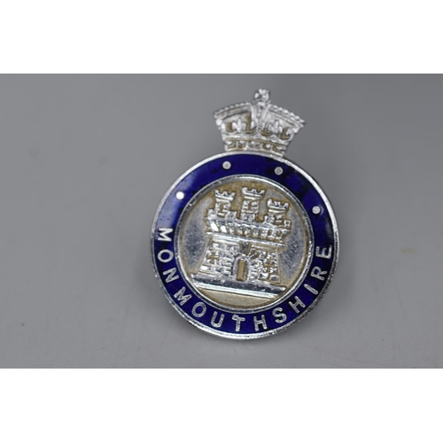 21 - Pair of Kings Crown Blue Enamel Collar Badges for Monmouthshire Police made by Thomas Fattorini....