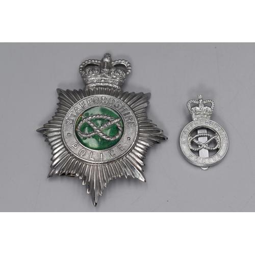 33 - Staffordshire Police Helmet Plate plus Cap Badge made by WM. Dowler Birmingham...