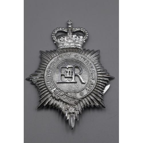 35 - Hertfordshire Police Helmet Plate plus Cap Badge...