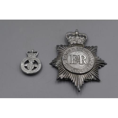 36 - Devon & Cornwall Police Helmet plate plus Cap Badge...