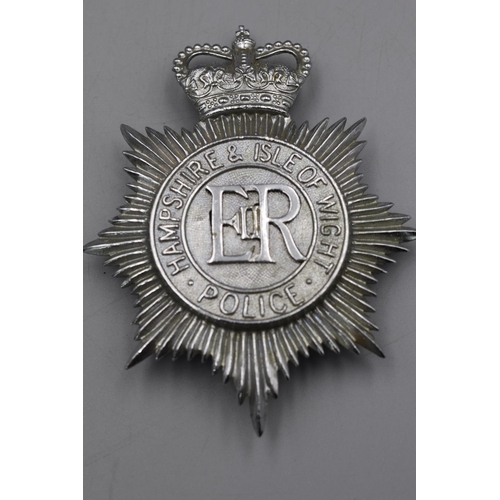 40 - Two Police Helmet Plates, West Mercia and Hampshire & Isle of Wight...