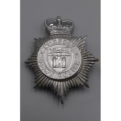 41 - Two Police Helmet Plates, Lancashire and Norfolk Joint Police...