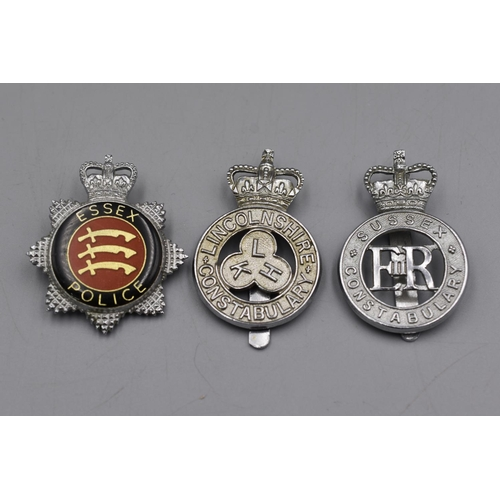 43 - Three Police Cap Badges, Essex, Sussex an Lincolnshire...