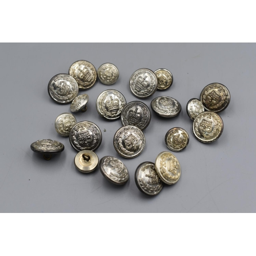 49 - Fourteen Large & Seven Small British Police Constables Uniform Buttons...