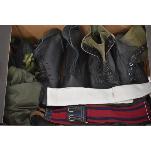 Selection of Military Boots, Belts and More
