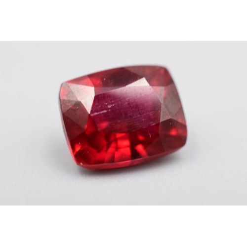 Natural Cushion Cut Red Ruby (8.03ct) Complete with Certificate of Authenticity