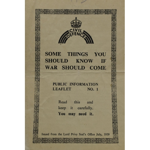 22 - Three WWII Civil Defence Public Information Leaflets - Food In Wartime, your gas mask and Things you...