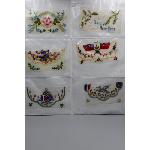 27 - Twelve Different WWI Embroidered Silk Postcard Centres...
