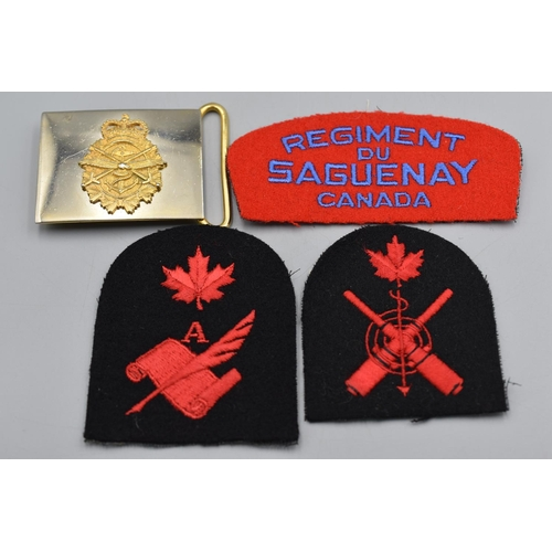 35 - Three Canadian Embroidered Military Badges plus a Canadian Gilt Metal Belt Buckle...