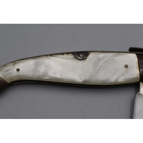 39 - Spanish Navaja Lock Knife. Blade Marked ANFER ? ALBACETE. 25cm Long Open...