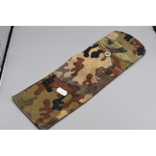 47 - WWII German Camouflaged Canvas Pouch. 5 Internal Loops . 30cm x 11cm. Stamped Stromb? Gmb Konstanz 1...