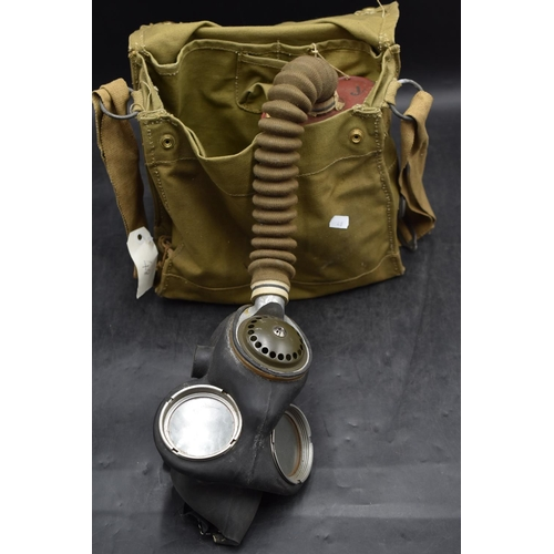 48 - WWII British Army Gas Mask With Canvas Storage Bag...