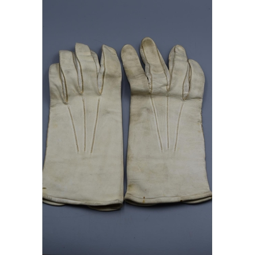 49 - Pair White Kid Leather Officers Dress Gloves...