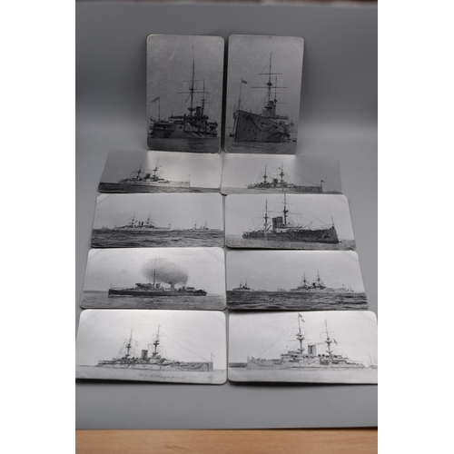 50 - Ten Different WWI Postcards British Navy Series No 41. All Showing Royal Navy Ships...