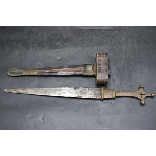 57 - Antique North African Tuareg Arm Dagger. Brass Hilt. Leather and Brass Scabbard with an Arm Loop. 48...