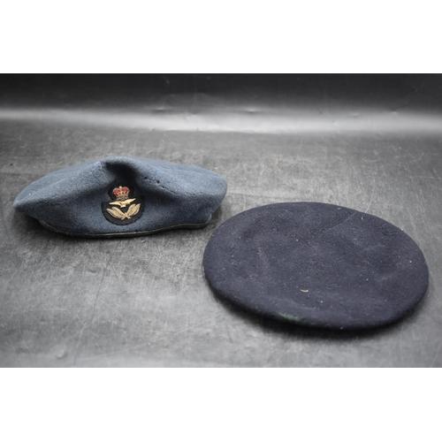 7 - RAF Officers Beret with Badge plus a Black Beret...